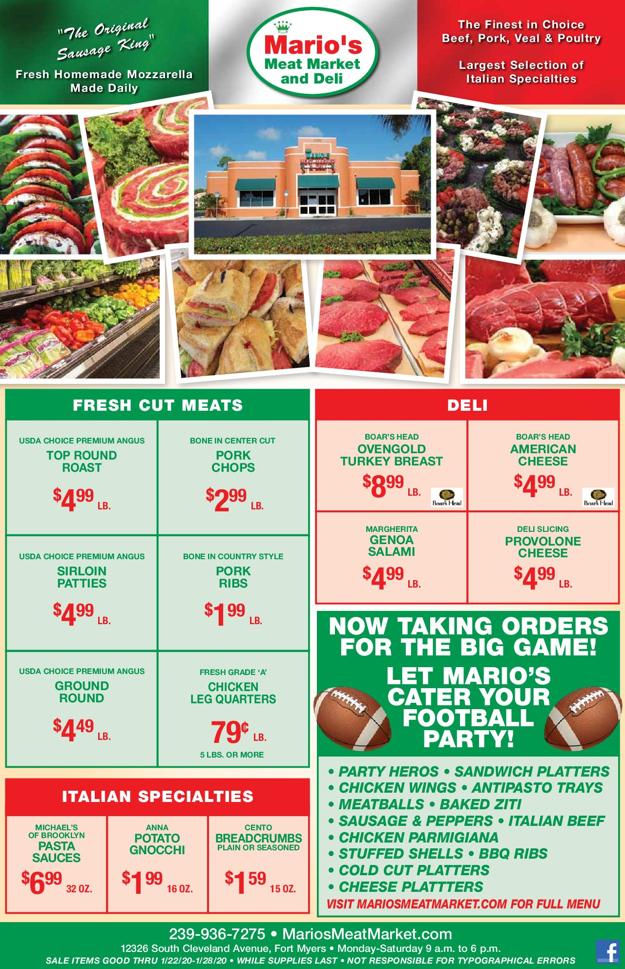 Mario's Weekly Specials - January 22nd, 2020
