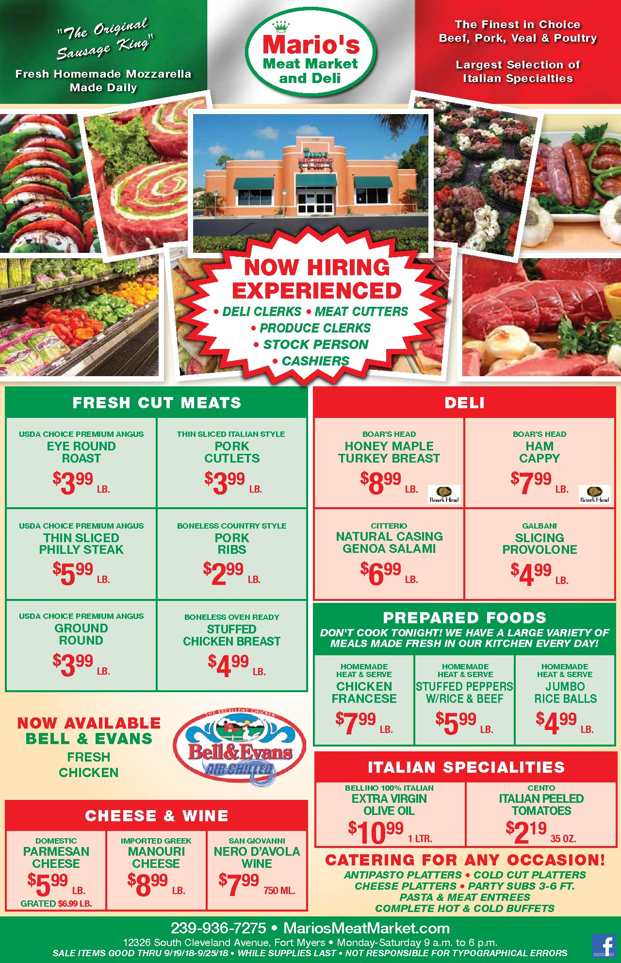 Mario's Weekly Specials - September 19th, 2018