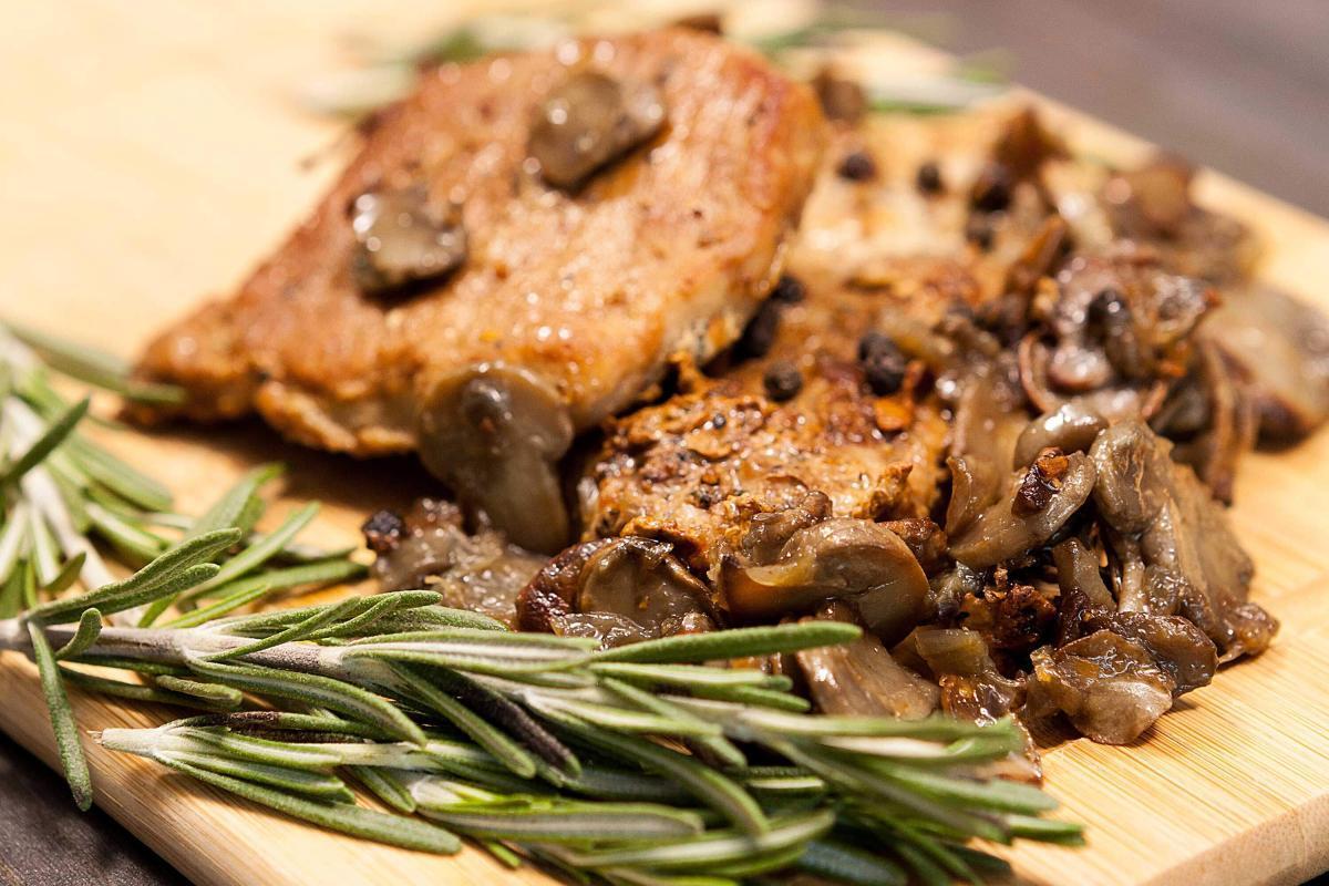 Marios Italian Deli   Pork Steaks with Mushroom Sauce