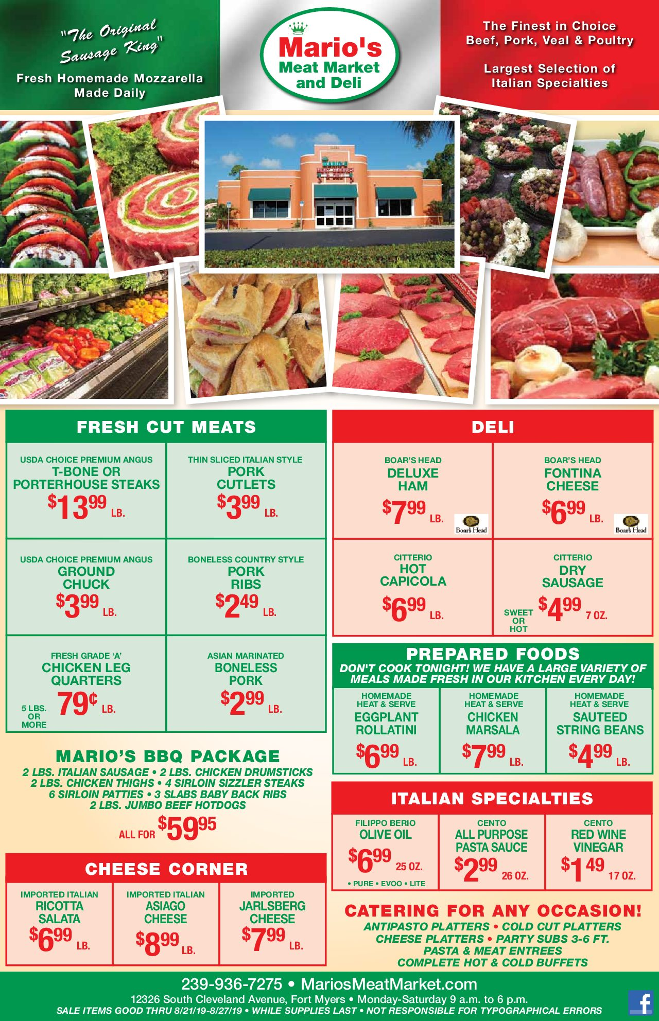 Mario's Weekly Specials - August 21st, 2019