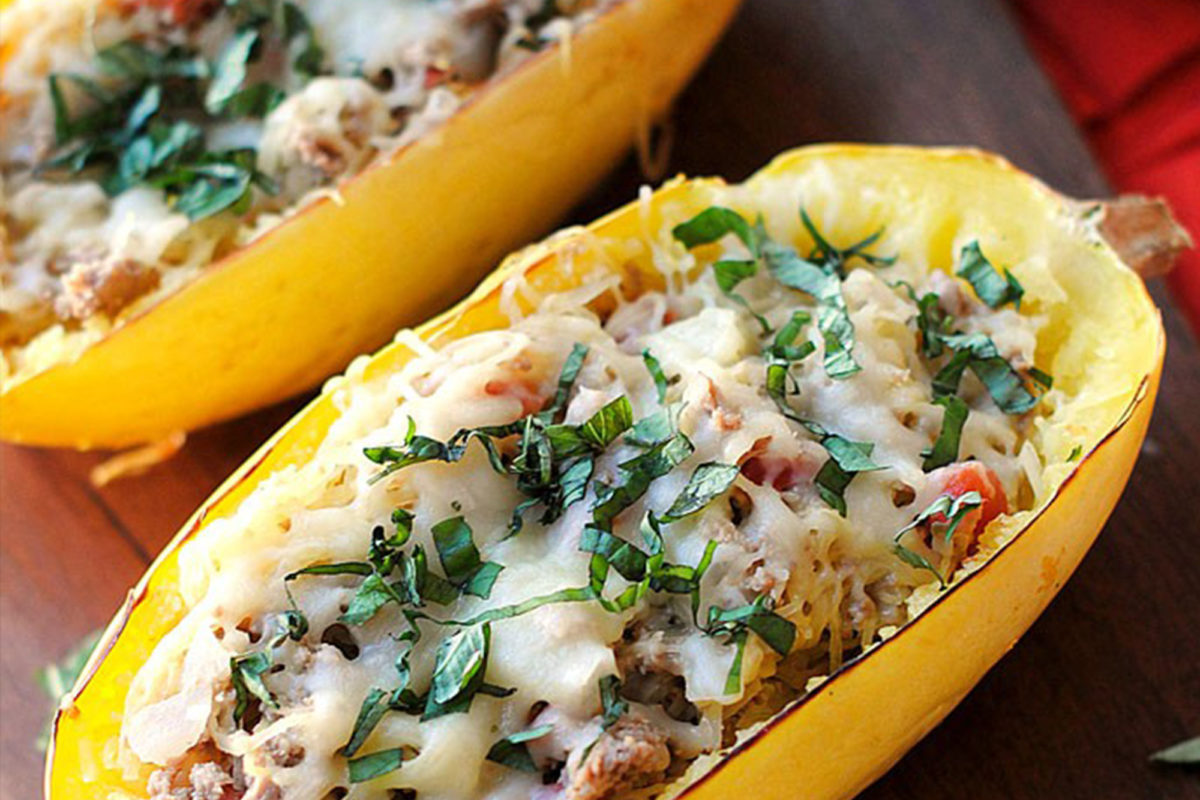 Marios Meat market & Deli | Recipe of Italian Spaghetti Squash Boats with Chicken Sausage