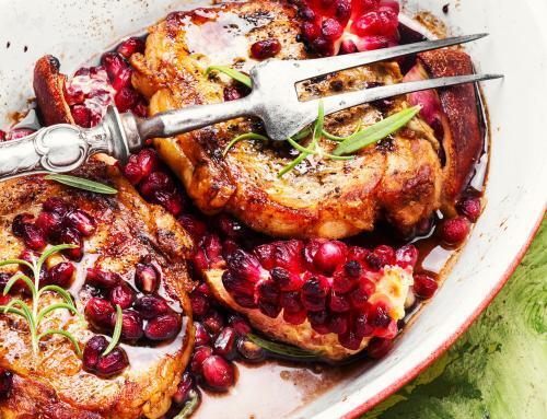 Pomegranate Glazed Pork Chops