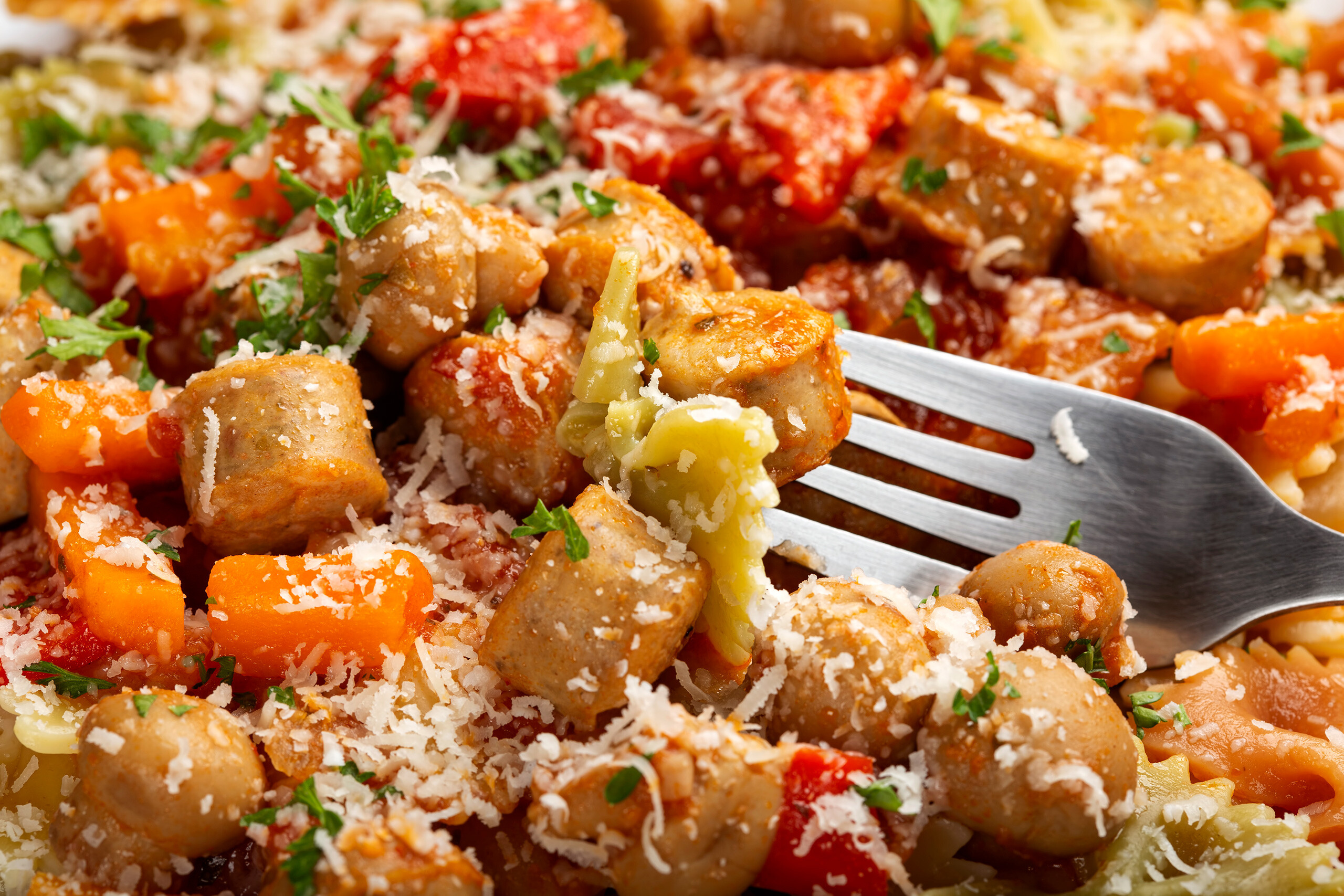 Image of Marios Meat Market & Deli | Recipe of Chicken Sausage and Vegetable Farfalle