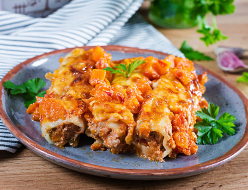 Ground Beef and Ricotta Manicotti