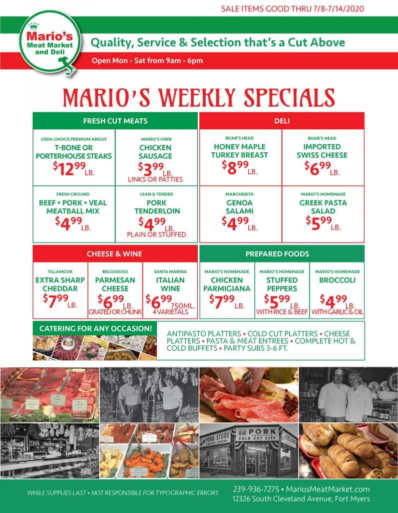 Weekly Specials Fort Myers | Wednesday, July 8th through Tuesday, July 14th | Marios Meat Market and Deli